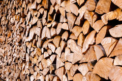 Chopped wooden logs stacked in woodpile Royalty Free Stock Photos