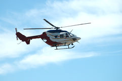 Chopper. Helicopter landing at Palo Alto Airport, California Stock Image