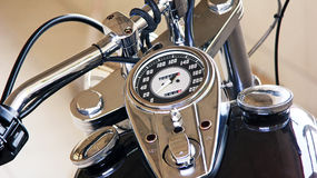 Chopper. Detail picture of tank and tachometer on a chromed  chopper Stock Images