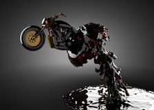 Chopper bike in liquid. Made in 3D Royalty Free Stock Images