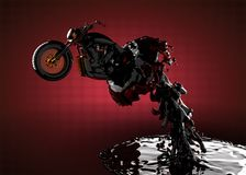 Chopper bike in liquid. Made in 3D Stock Images