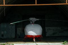 Chopper is closed the case is in the hangar stock image