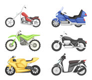 Chopper, cruiser sport bike and others types of motorcycles. Vector illustration set isolate on white background. Motorcycle for motocross, vintage classic Royalty Free Stock Photo