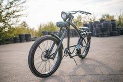 Chopper. Custom chopper bicycle on street Stock Photos