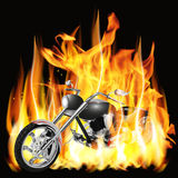 Chopper with flames Royalty Free Stock Image