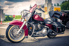 Chopper on gas station Royalty Free Stock Photography