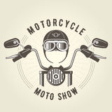 Chopper moto handlebar and vintage motorcycle helmet. With glasses Stock Photography