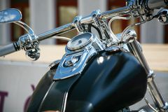Chopper motorbike. Handlebar in front stock photos