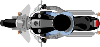 Chopper motorcycle with rider top view Royalty Free Stock Image