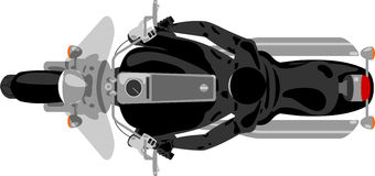 Chopper motorcycle with rider top view Stock Image