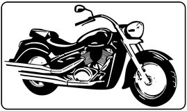 Chopper motorcycle white background black and white vector illustration. Chopper motorcycle isolated on white background black and white vector illustration Stock Image