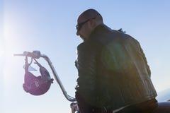 Chopper motorcyclist rider Royalty Free Stock Image