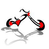 Chopper Red Heart. Chopper motorcycle with red heart engine illustration isolated over white background Stock Photography