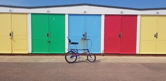 Chopper retro beach huts stock images