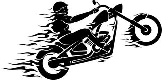 Chopper Rider In Flames Royalty Free Stock Image