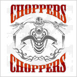 Choppers - vector vintage bikers badge Royalty Free Stock Images