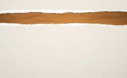 Choppin de madeira de Brown, placa de corte, prancha com papel alinhado rasgado do caderno Foto de Stock Royalty Free