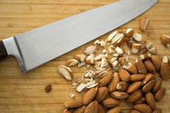 Chopping almonds, detail Stock Photography