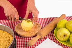 Chopping apples Royalty Free Stock Image