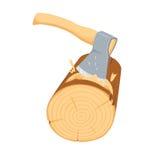 Chopping ax log. Stock Photos