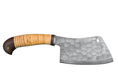 Chopping ax made of damask steek and cork handle isolated on white background.  royalty free stock photo