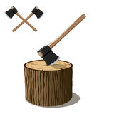 Chopping axe on tree stump. 3d illustration of chopping axe embedded in tree stump with crossed axes in background, on white Royalty Free Stock Image