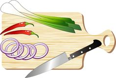 Chopping Board. Wooden Chopping board with knife and food ingredients Stock Photo