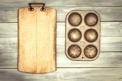 Chopping Board & Baking Tin stock image