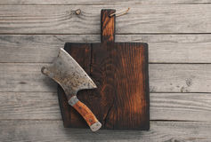 Chopping board block and cleaver Royalty Free Stock Photography