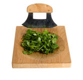 Chopping board and knife with diced cilentro Royalty Free Stock Images