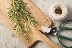 Chopping board with rosemary lying on top of a worn wooden surfa Stock Photo