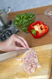 Chopping chicken Royalty Free Stock Image