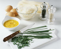 Chopping the chives Stock Photography