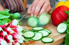 Chopping Cucumber Royalty Free Stock Image