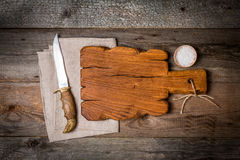 Chopping cutting board, seasonings and Meat cleave Stock Photos