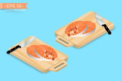 Chopping, cutting board with two pieces of salmon fish steak and knife. Gourmet food dinner preparing. Vector illustration design Royalty Free Stock Photos