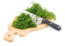 Chopping dill herb Royalty Free Stock Photography