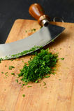 Chopping fresh dill Royalty Free Stock Images