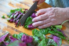 Chopping fresh greens on a wet board. Coarsely chopping amaranth greens on a cutting board stock images