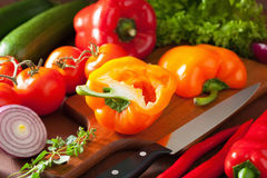 Chopping healthy vegetables pepper tomato salad onion chili on r Royalty Free Stock Images