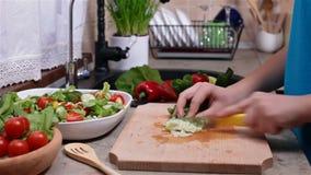 Chopping lettuce leaves for a fresh vegetable salad stock video