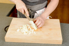 Chopping onion Stock Images
