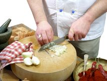 Chopping onions royalty free stock image