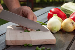 Chopping onions. Men's hand cut onions on a wooden board Stock Photos