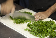 Chopping parsley Royalty Free Stock Images