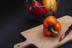 Chopping peppers Stock Photography