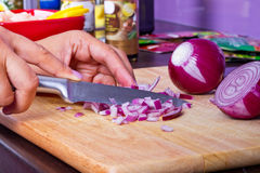 Chopping red onion in kitchen Stock Photos