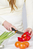 Chopping Red Pepper Stock Photo