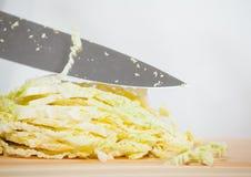 Chopping savoy cabbage Royalty Free Stock Photos