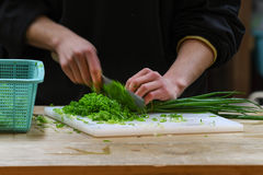 Chopping spring onion, Osaka, Japan Stock Photography